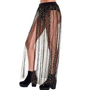 Dresses & Skirts - Star mesh skirt maxi beach cover up sheer rave